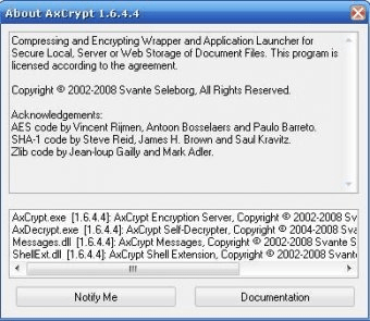 axcrypt 1.7.2976 sur windows