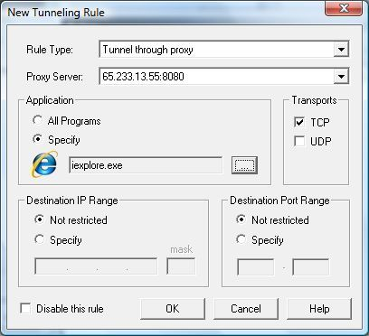 Adding a tunneling rule