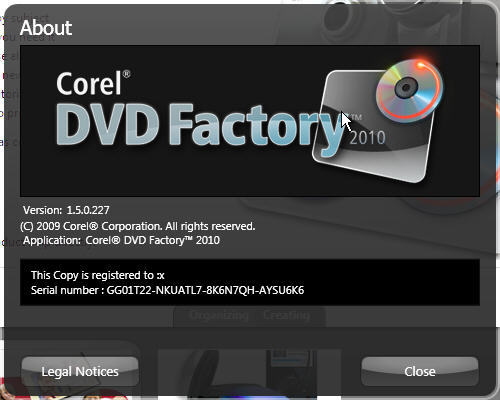 About window - DVD Factory
