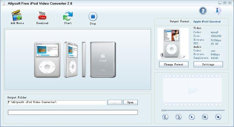 Altysoft Free iPod Video Converter Download - A free iPod