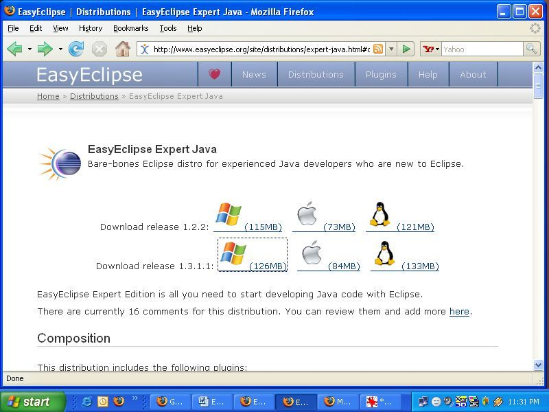 EasyEclipse Expert Java 1.3 download page