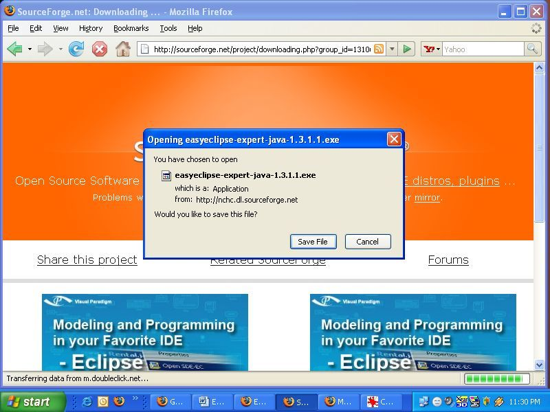 EasyEclipse Expert Java 1.3 download information screen