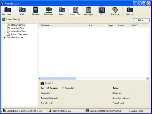 File Sharing interface