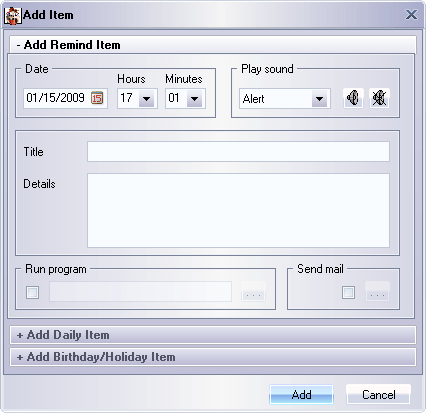 Add Item Window