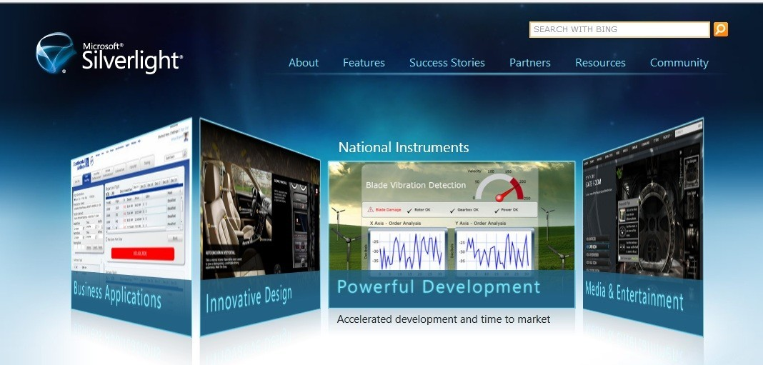 Main Page (Microsoft Silverlight Website)