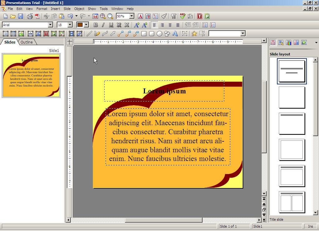 Presentations main window