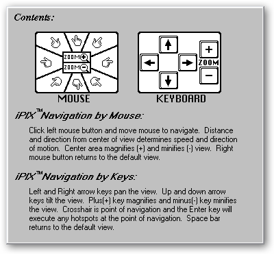 How to use the mouse or keyboard with this program (Help => Contents)