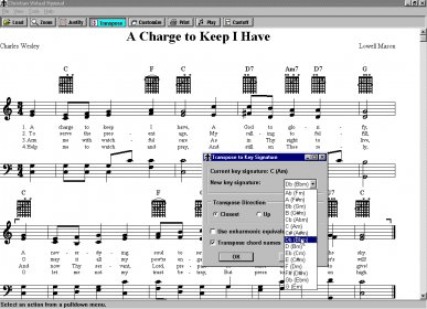 Christian Virtual Hymnal Download - Transposable sheet music