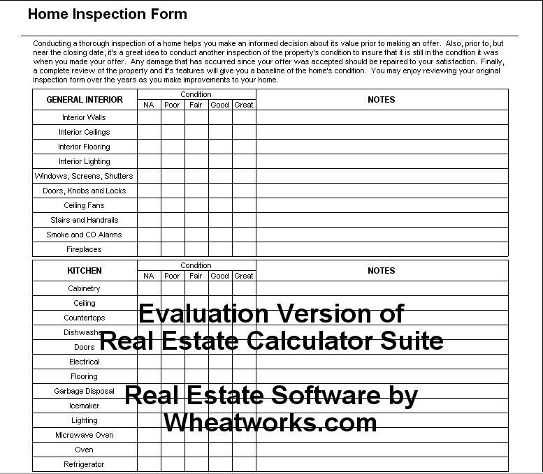 Documents: Home inspection Form