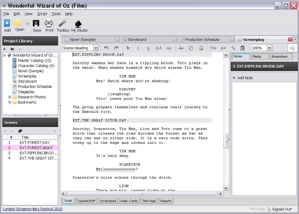Screenplay tab
