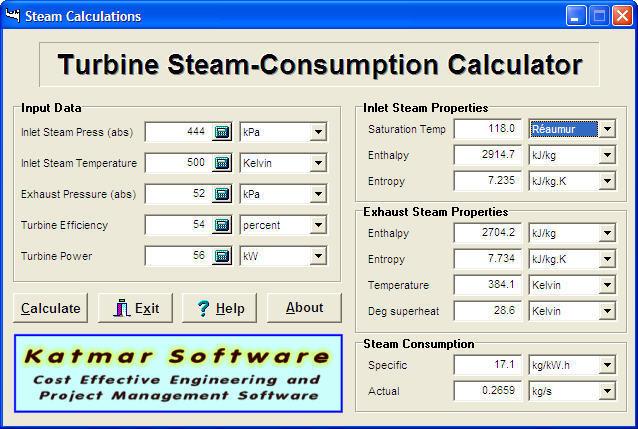Turbine Steam-Consumption Calculator Download - You can calculate