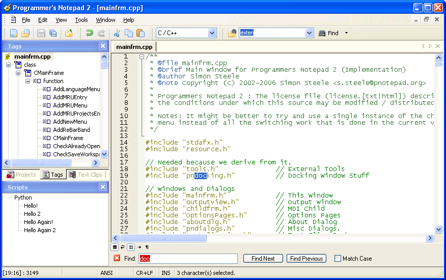 tags and script window