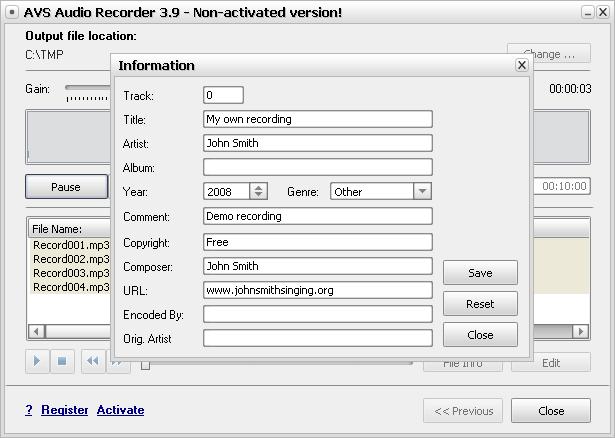 Editing File Information