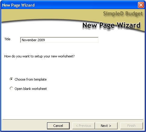 New page wizard