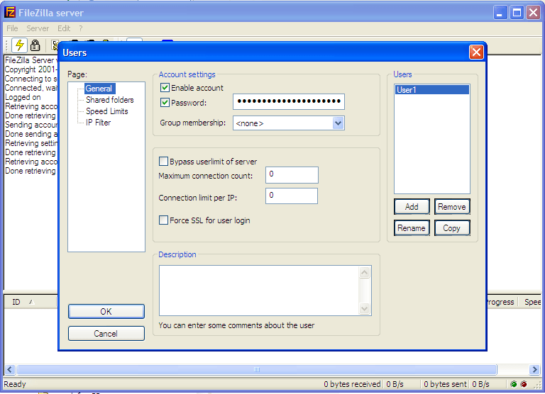 Create Users window