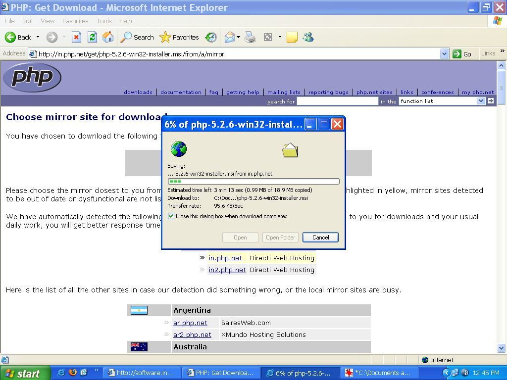 Downloading PHP 5.2 Windows Installer