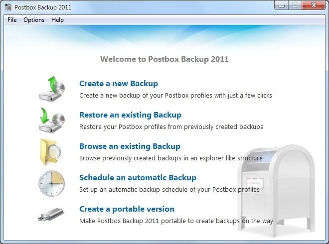 Postbox Backup 2011 Main Window