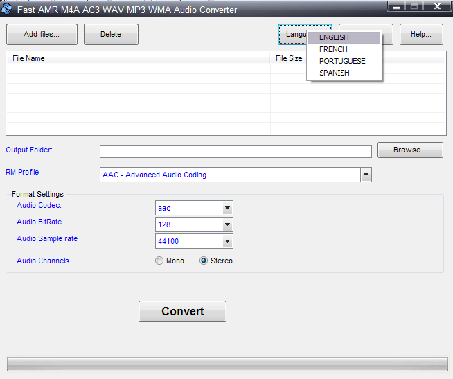 Language options