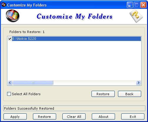 Restoring the folder to default