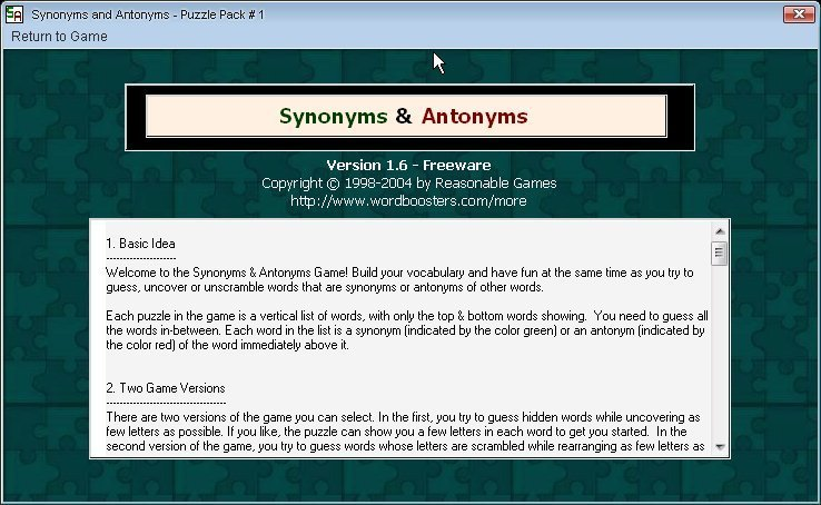 Synonyms and Antonyms 1 6 Download (Free) - SynonymsAndAntonyms exe