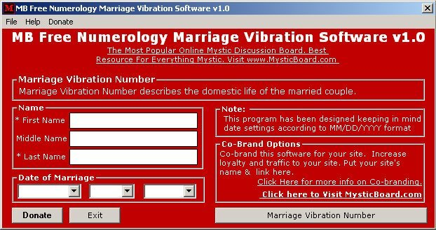 MB Free Numerology Marriage Vibration Software Download Free Version