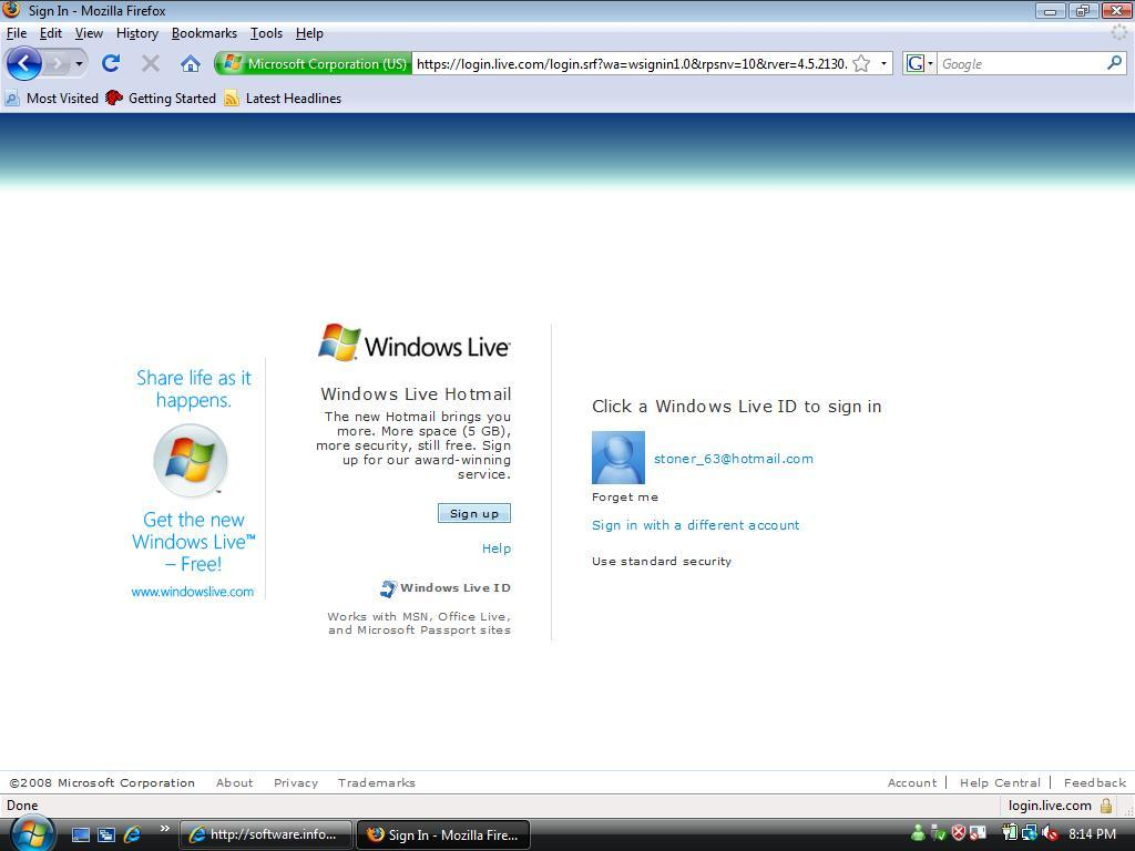 Windows Live Hotmail Default Logon Screen (only 1 user at time)