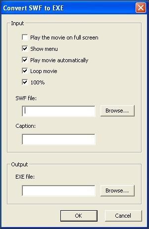 Convert SWF to EXE Window