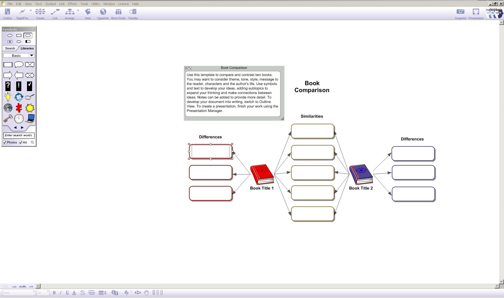 Visually map ideas in diagram view.