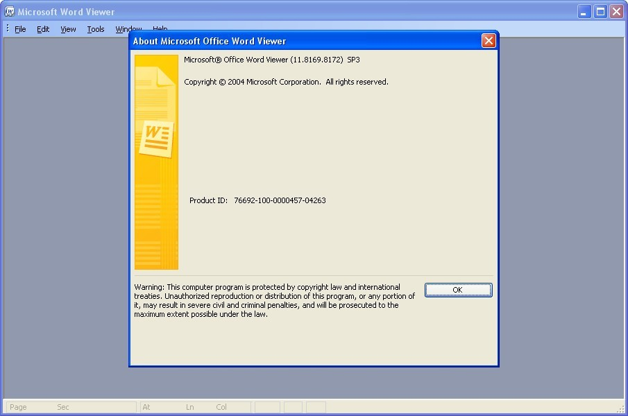 Microsoft Office Word Viewer 11 8 Download (Free) - WORDVIEW EXE