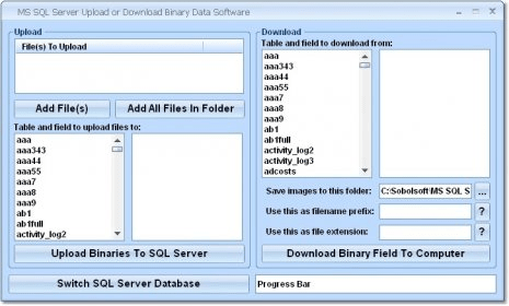 MS SQL Server Upload or Download Binary Data Software - Send