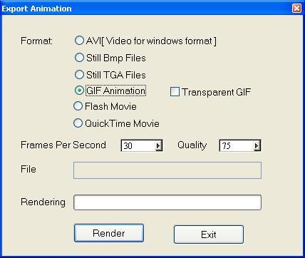 Exporting the animation to GIF, AVI or Flash video