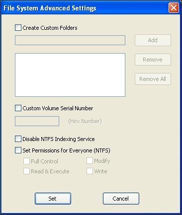 File System Advanced Settings Window