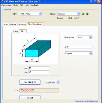AVD Mass and Volume Calculator 7 1 Download (Free trial) - AVD Mass
