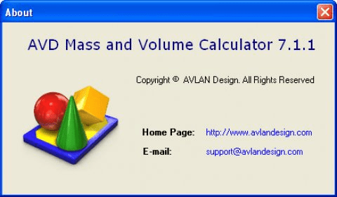 AVD Mass and Volume Calculator 8 0 Download (Free trial) - AVD Mass