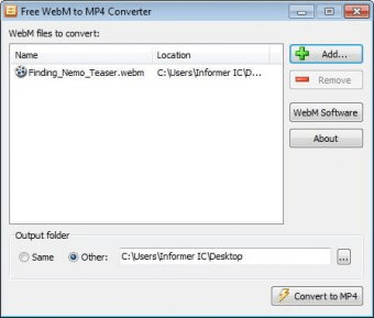free webm to mp4 converter 1.0