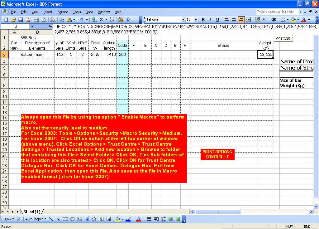 Bar Bending Schedule Program in Microsoft Excel  Get the software safe and  easy