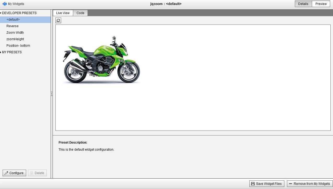 Example of widget in browser