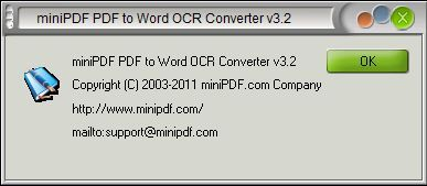 About mini PDF To Word OCR Converter