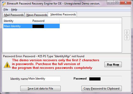 Recovering identity passwords