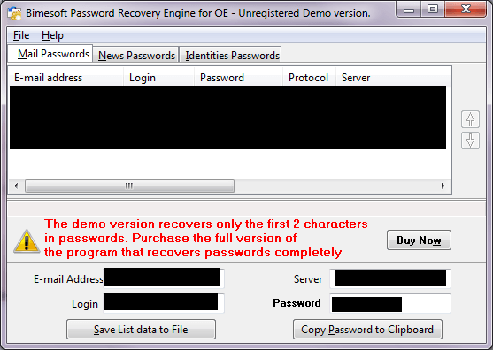 Recovering email accounts