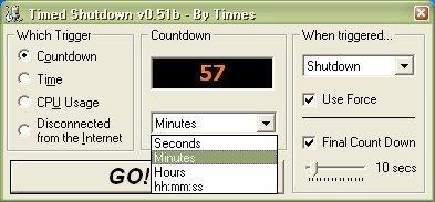 Countdown option, How many minutes/hours/days/ you want to keep on your computer?