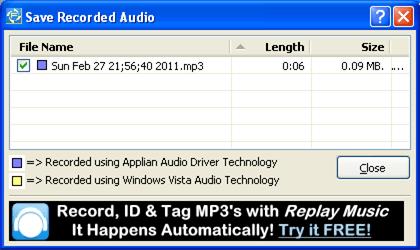Save Audio recording
