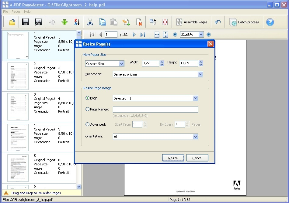 Page Resize Dialog