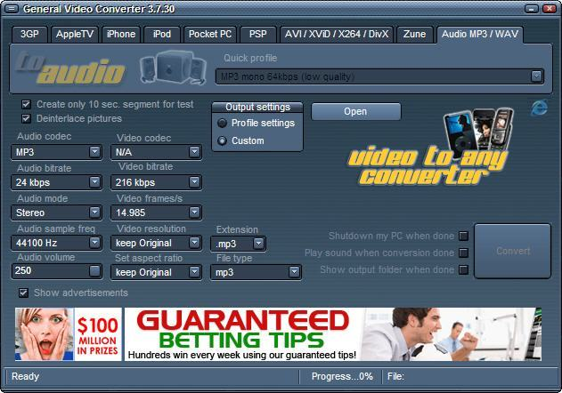 General video converter download software can create output.