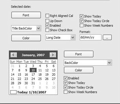 Time Date Picker ActiveX - General view