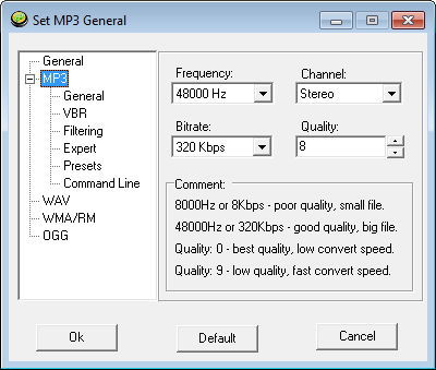 MP3 Format Settings
