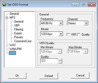 OGG Format Settings