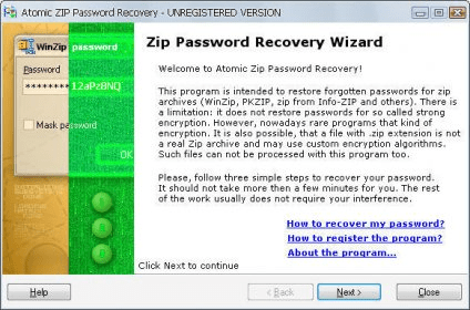 Atomic ZIP Password Recovery 2 5 Download (Free trial