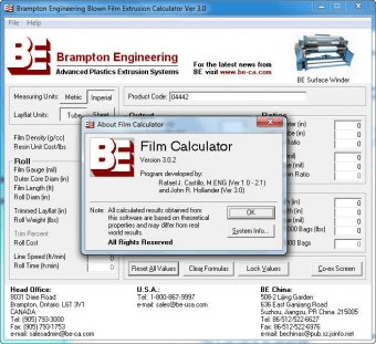 Brampton Engineering Film Calculator 3 0 Download (Free trial)