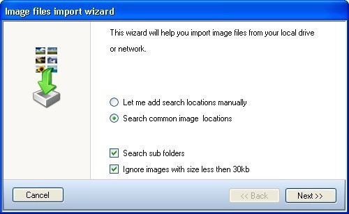 Image file import wizard window
